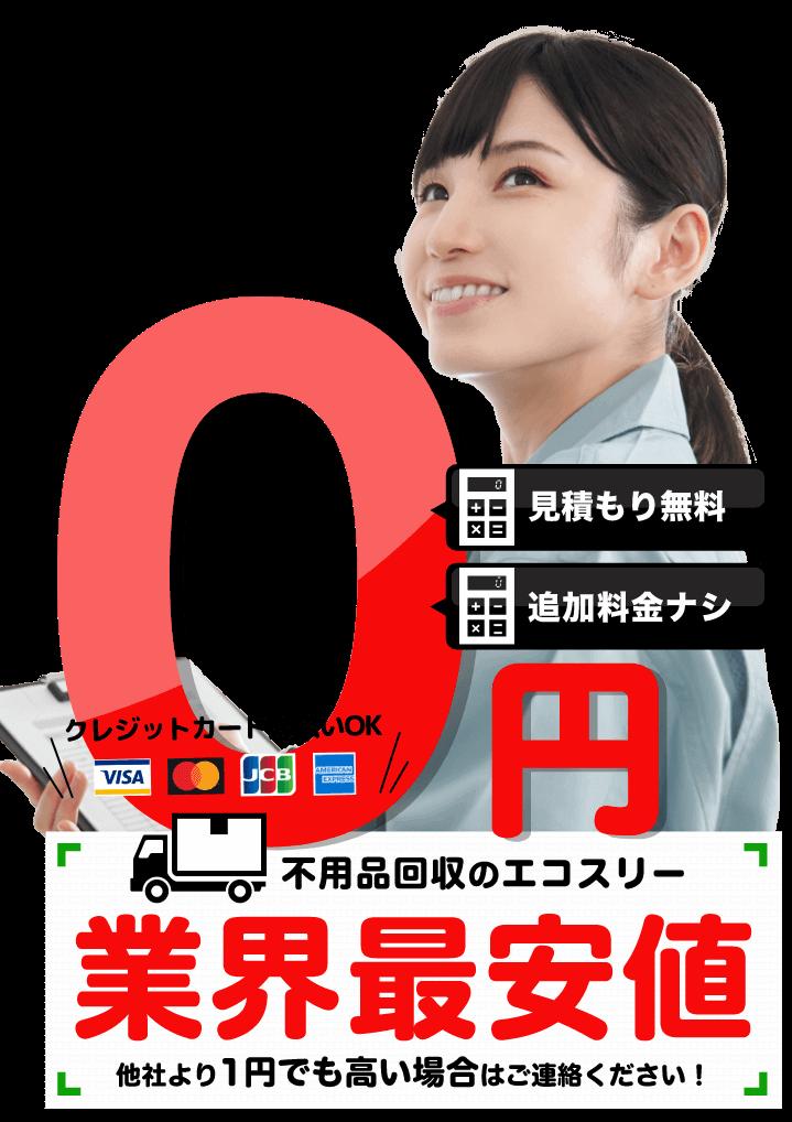不用品回収のエコスリー/業界最安値、他社より1円でも高い場合はご連絡ください。